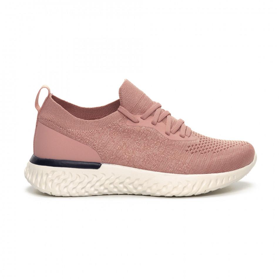 Γυναικεία ροζ αθλητικά παπούτσια καλτσάκι ελαφρύ μοντέλο it240419-54