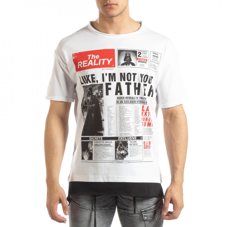 Ανδρική λευκή κοντομάνικη μπλούζα Darth Vader it150419-112
