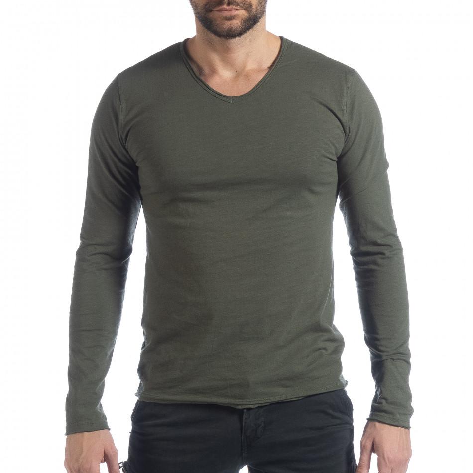 Ανδρική χακί μπλούζα V-neck it040219-84