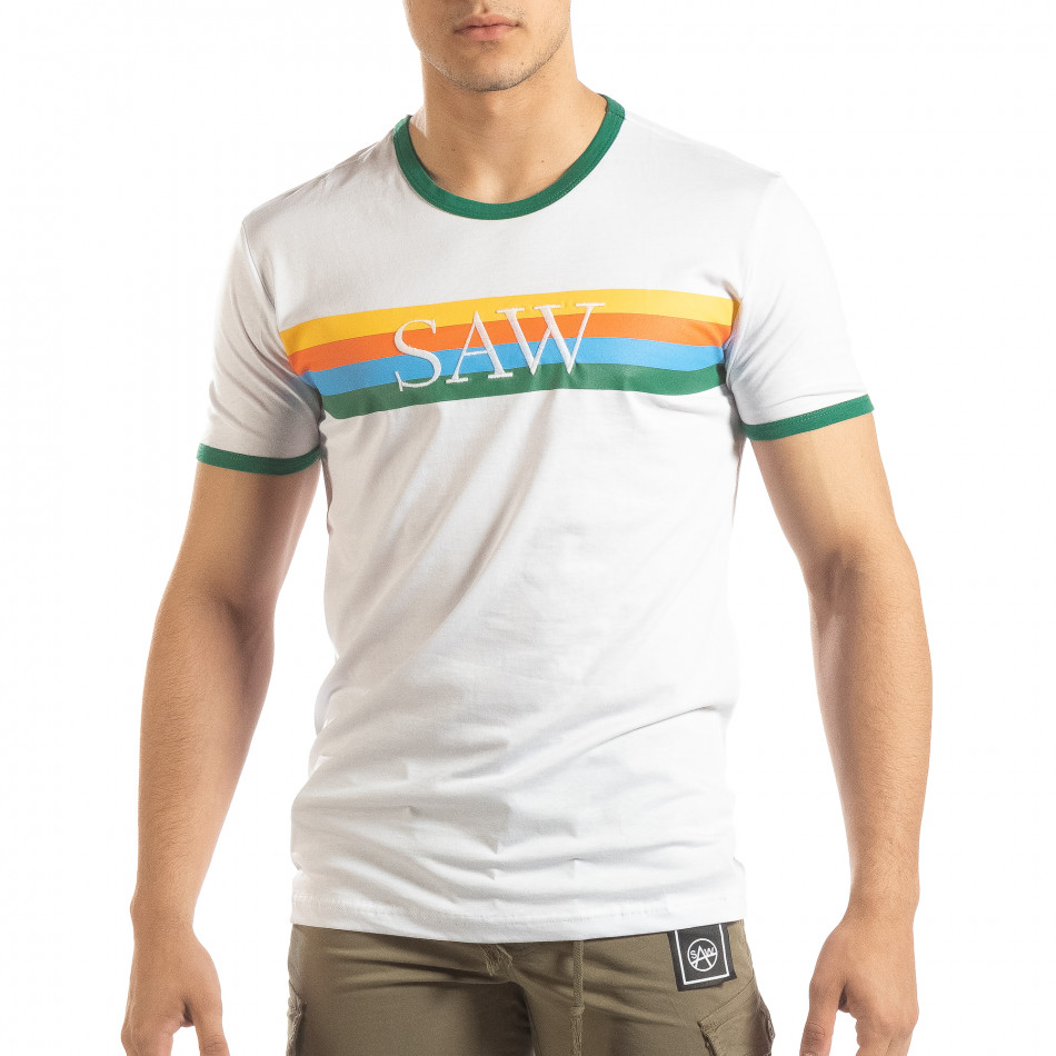 3320f1b481ba Ανδρική λευκή κοντομάνικη μπλούζα με πολύχρωμες ρίγες it150419-59 ...