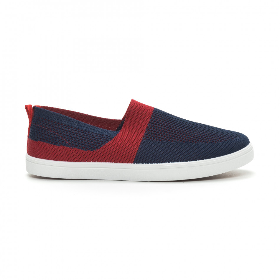 Ανδρικά μπλε πλεκτά sneakers με κόκκινες λεπτομέρειες it150319-17