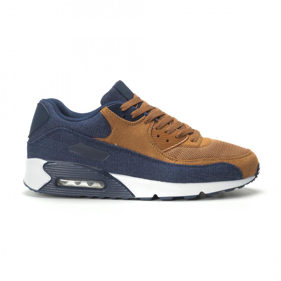 Ανδρικά αθλητικά παπούτσια Air camel και ντένιμ it250119-26