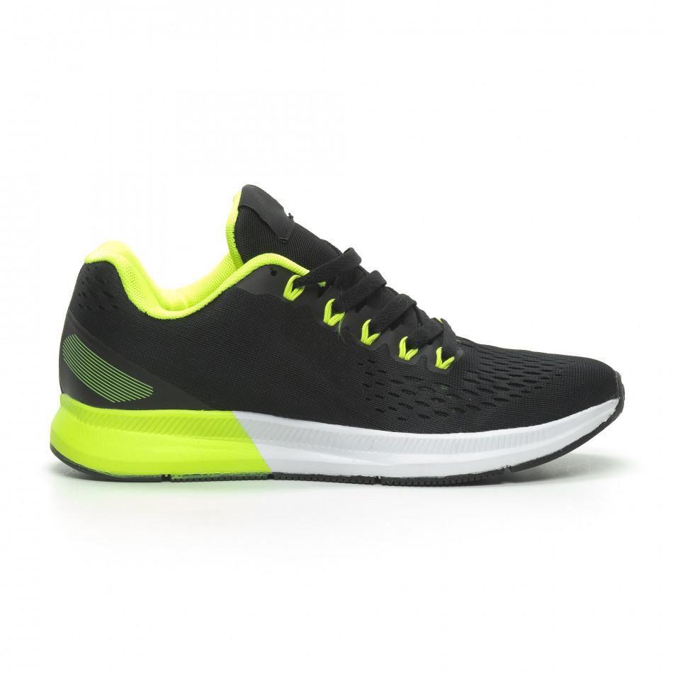 Ανδρικά μαύρα αθλητικά παπούτσια ελαφρύ μοντέλο it100519-2