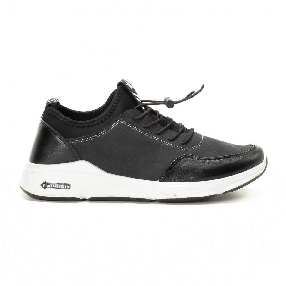 Ανδρικά μαύρα αθλητικά παπούτσια από συνδυασμό υφασμάτων it221018-34