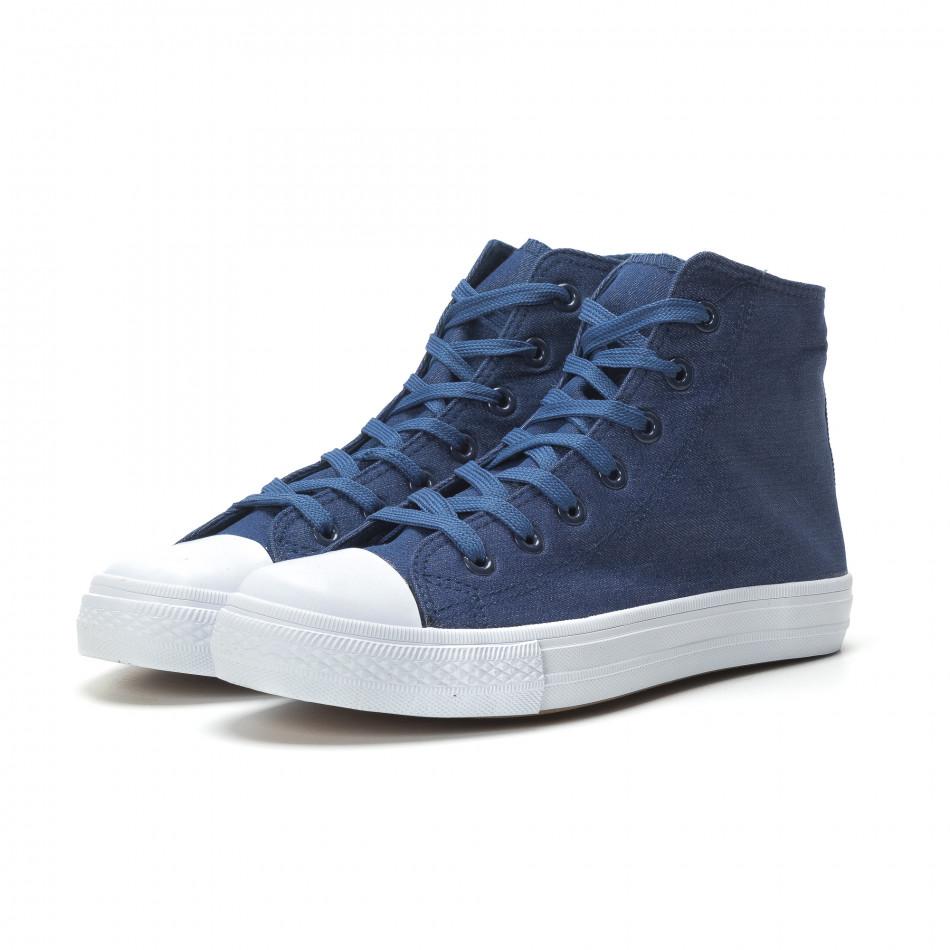 Ανδρικά μπλε sneakers με λευκή σόλα it250119-1