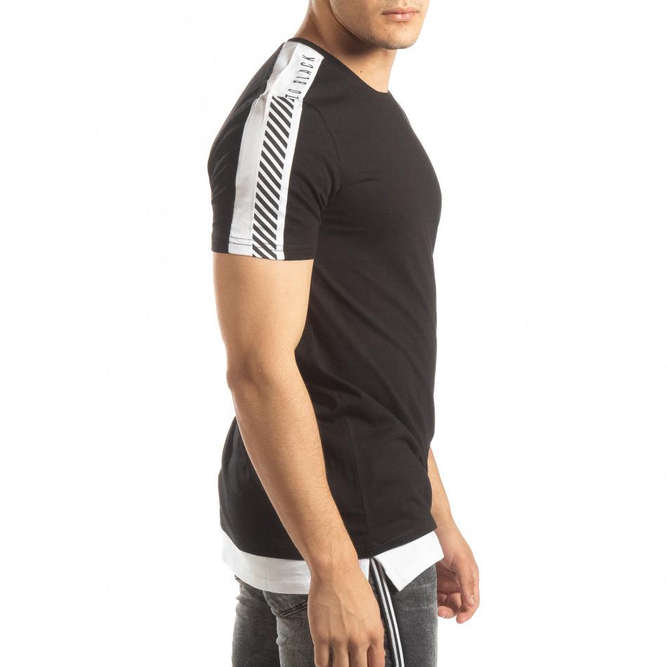 Ανδρική μαύρη κοντομάνικη μπλούζα με λευκές λεπτομέρειες it150419-83