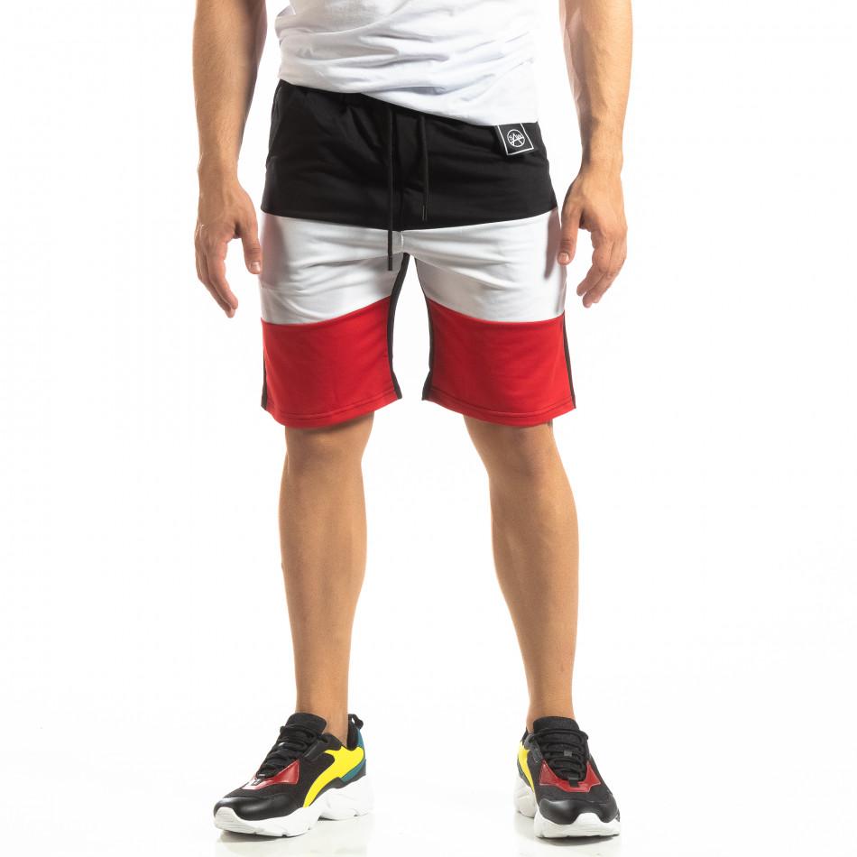 Ανδρικό μαύρο σορτς με κόκκινο και λευκό it150419-32