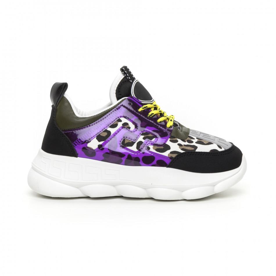Γυναικεία μαύρα αθλητικά παπούτσια με λεπτομέρειες Mix it130819-66
