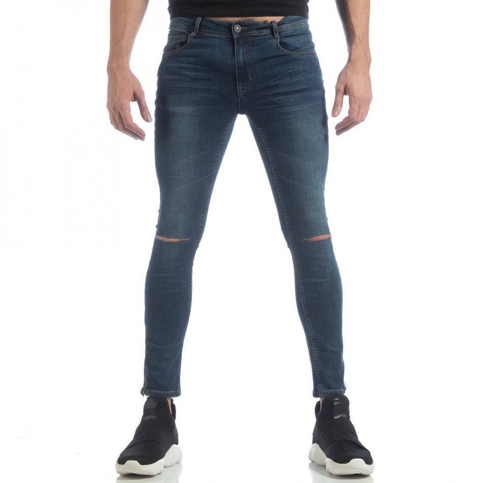 Ανδρικό γαλάζιο Skinny τζιν με φερμουάρ it040219-6
