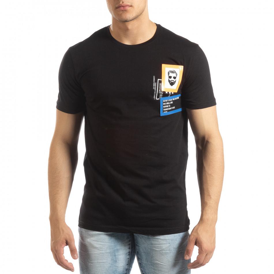 Ανδρική μαύρη κοντομάνικη μπλούζα με διακοσμητικά απλικέ it150419-69
