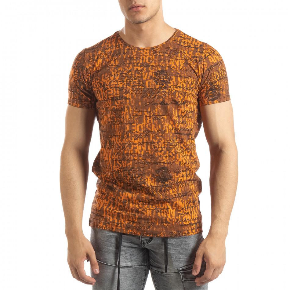 Ανδρική πορτοκαλί κοντομάνικη μπλούζα Vintage it150419-104
