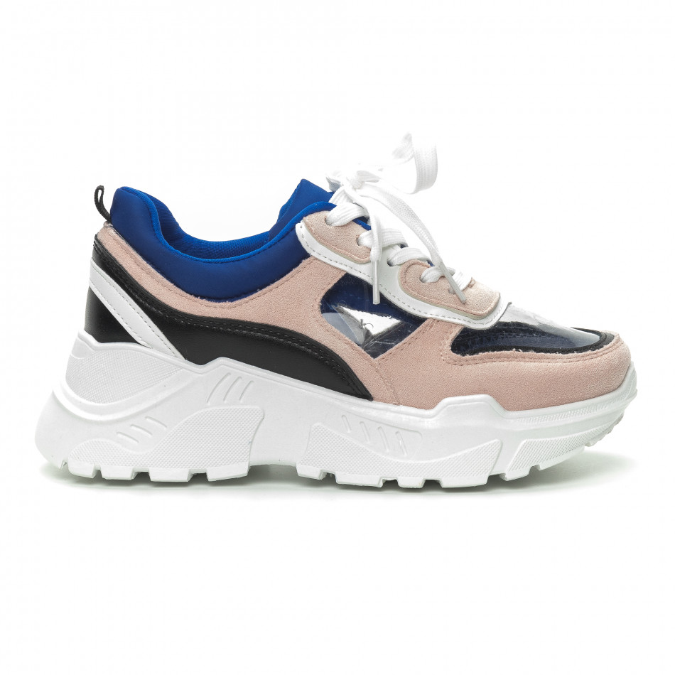 Γυναικεία ροζ αθλητικά παπούτσια με διαφάνειες it150319-63