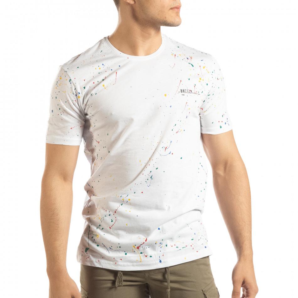 Ανδρική λευκή κοντομάνικη μπλούζα με διακοσμητικές πιτσιλιές μπογιάς it150419-88