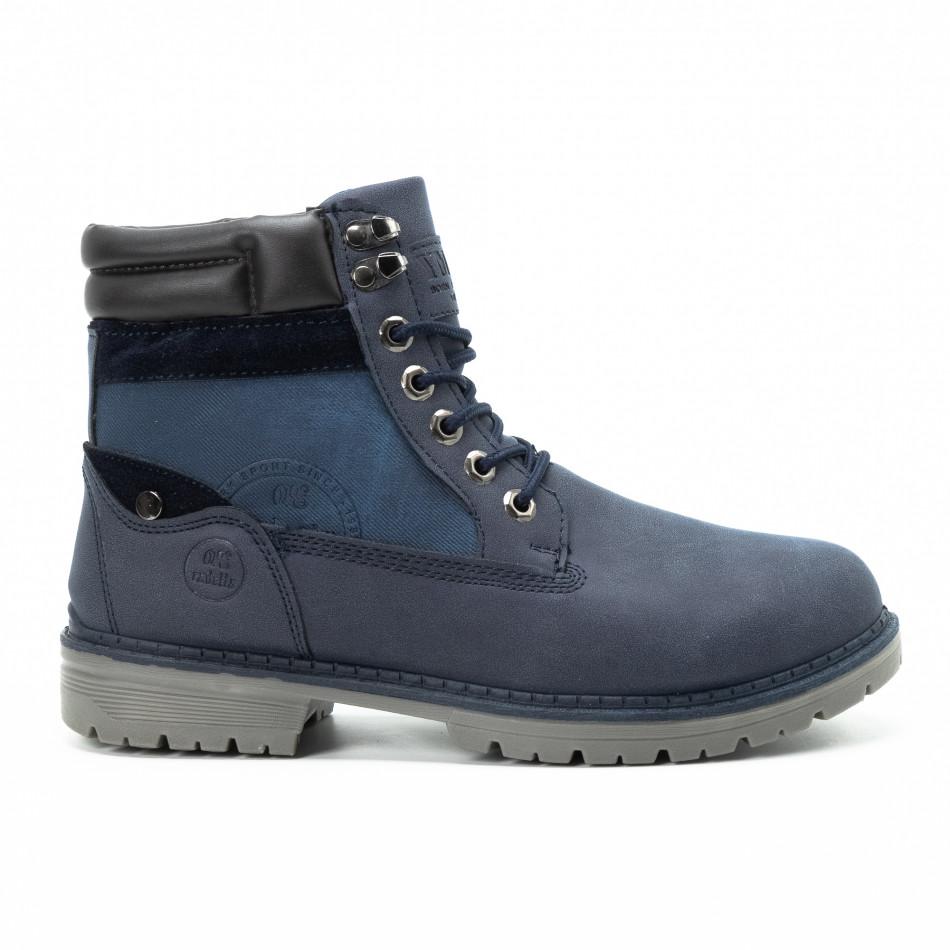 Ανδρικά μπλε μποτάκια με λογότυπο it140918-26