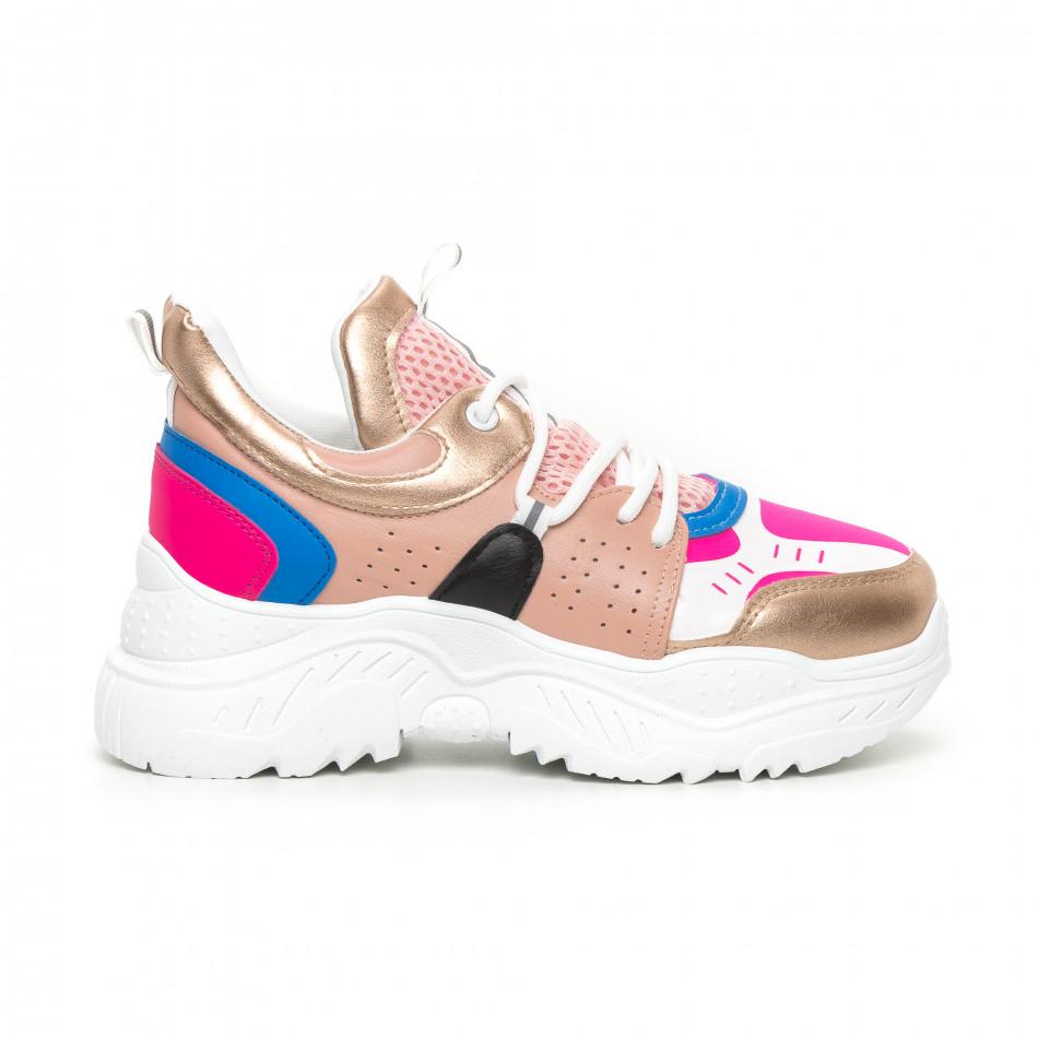 Γυναικεία Chunky αθλητικά παπούτσια ροζ και μπλέ it130819-65