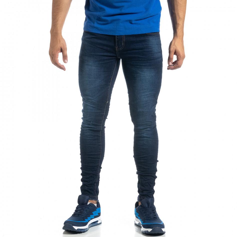 Ανδρικό τσαλακωμένο τζιν σε χρώμα indigo Skinny fit it041019-27