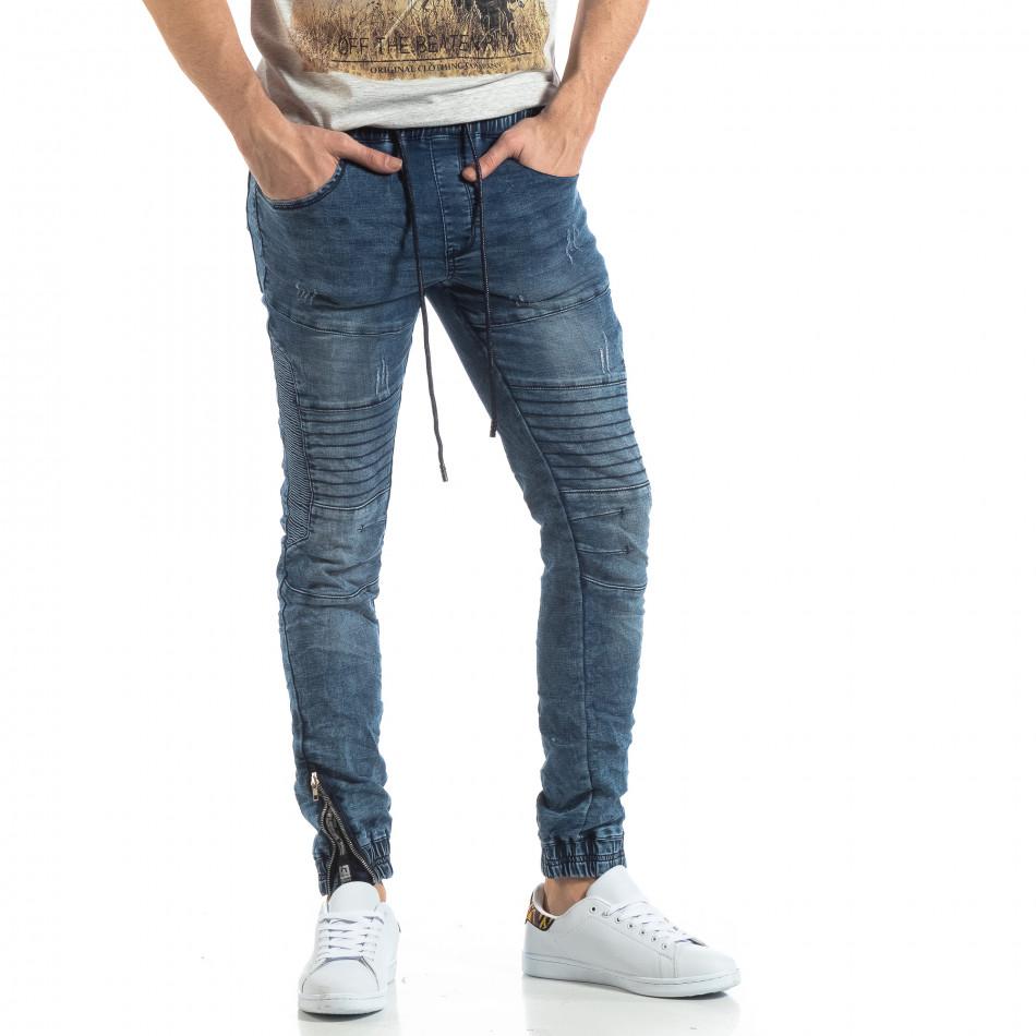 Ανδρικό μπλε τζιν Jogger Jeans σε ροκ στυλ it210319-10