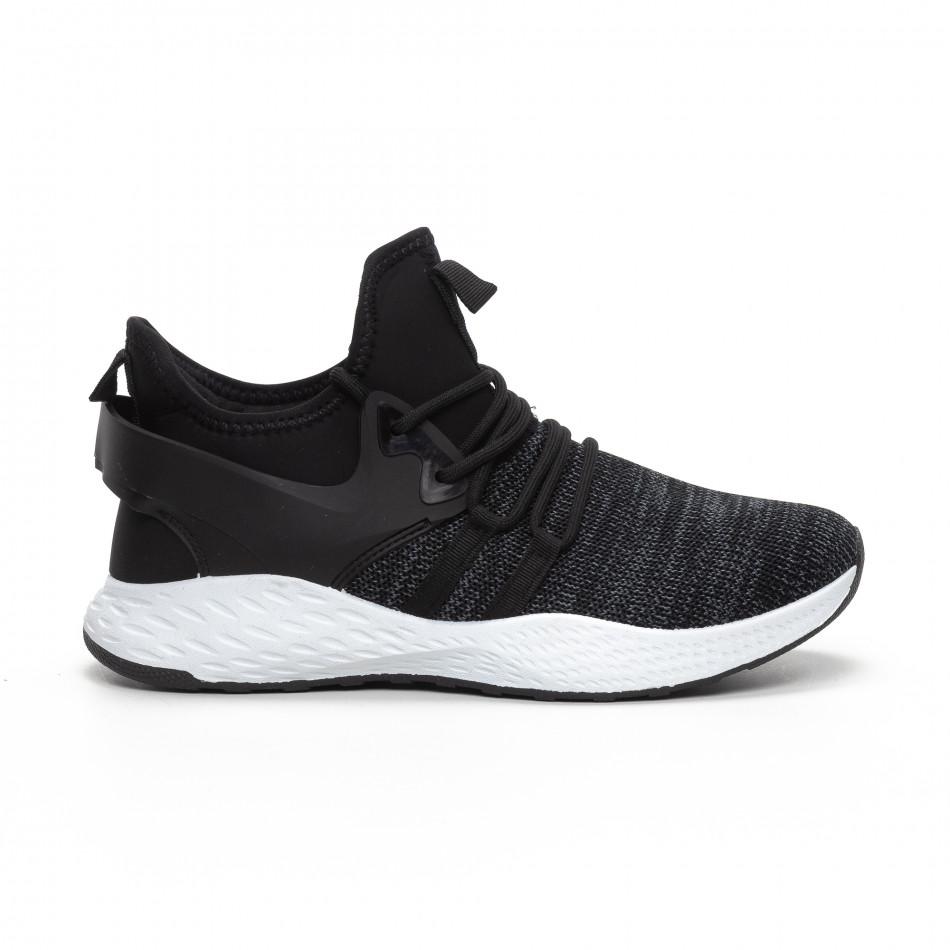 Ανδρικά μαύρα μελάνζ αθλητικά παπούτσια με νεοπρέν it240419-4