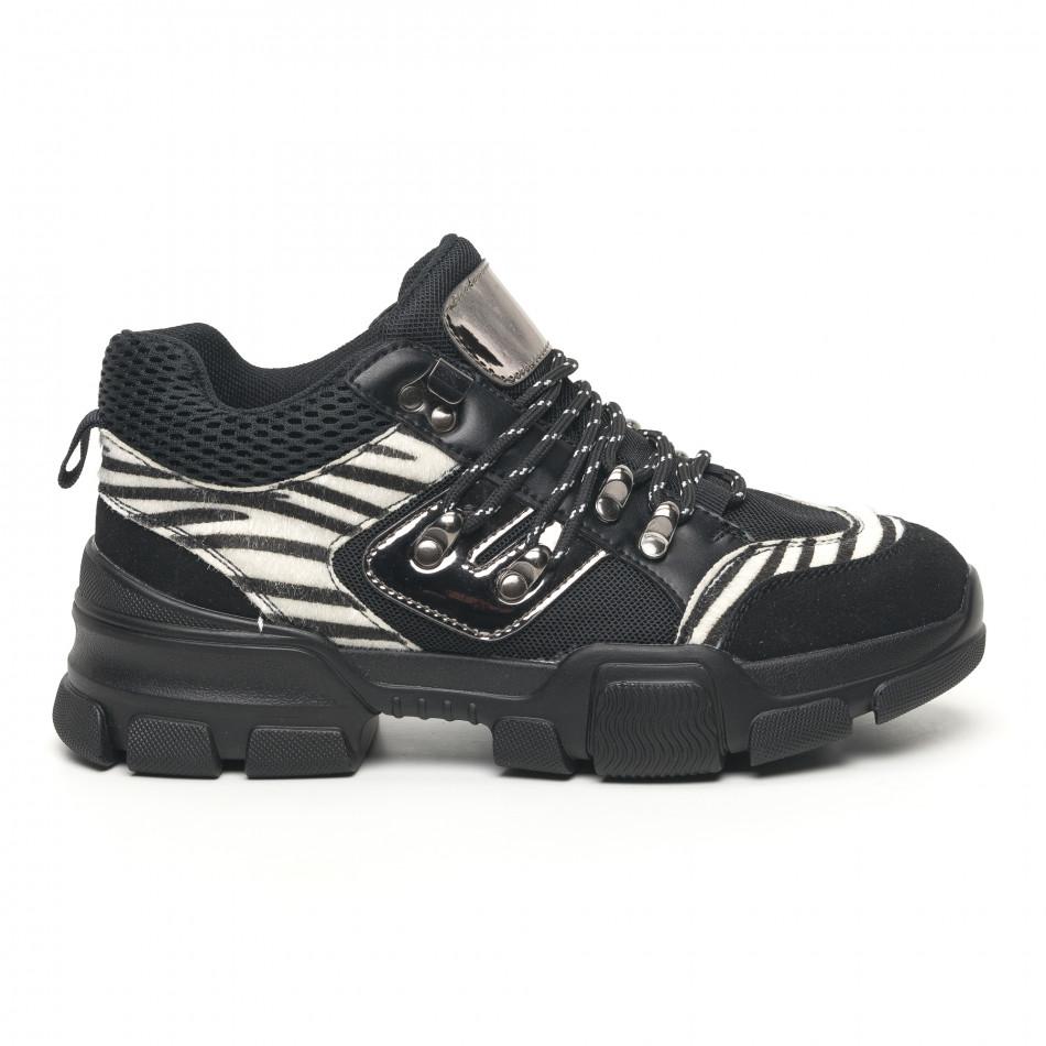 Γυναικεία αθλητικά παπουτσια τύπου Hiker σε μαύρο και ζέβρα it281019-28