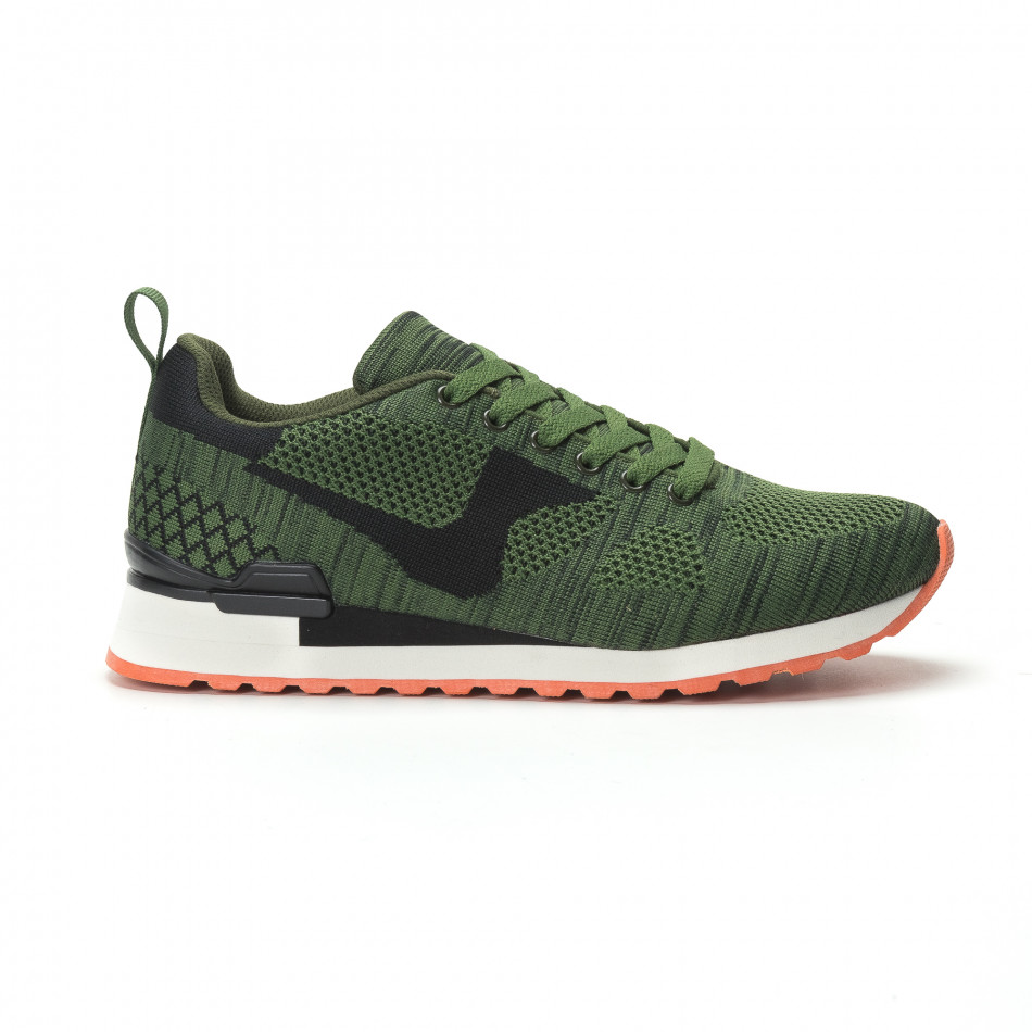 Ανδρικά πράσινα αθλητικά πλεκτά παπούτσια με πορτοκαλί σόλα it250119-6
