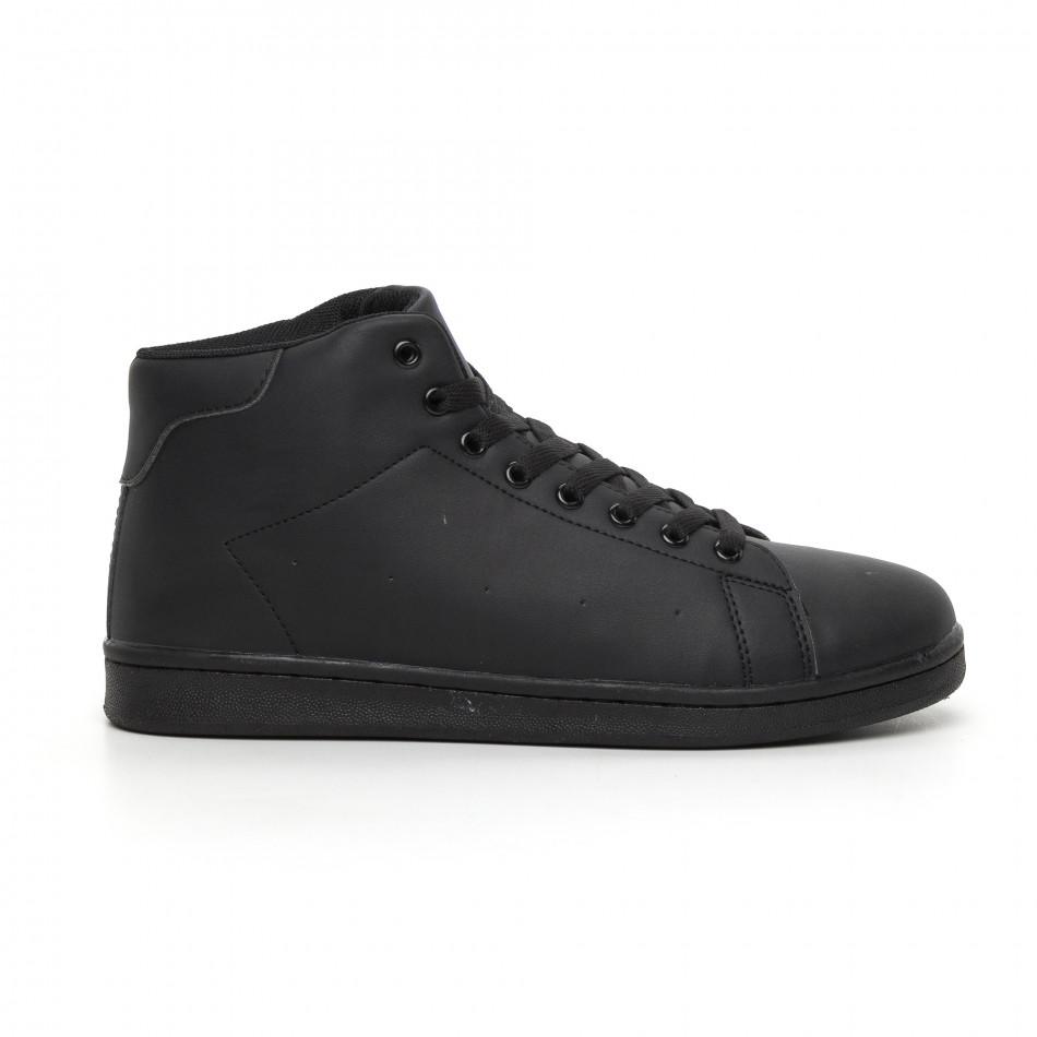 Ανδρικά μαύρα ματ ψηλά sneakers Basic it130819-17