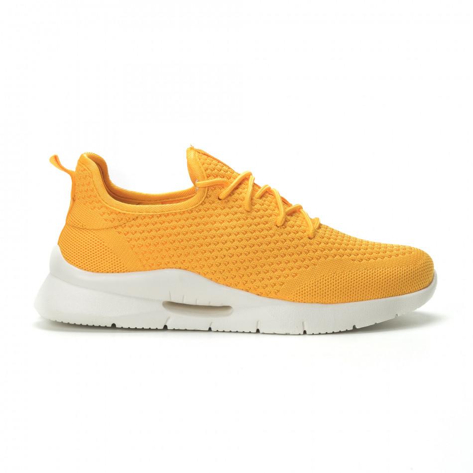 Ανδρικά κίτρινα αθλητικά παπούτσια Hole design ελαφρύ μοντέλο it250119-25