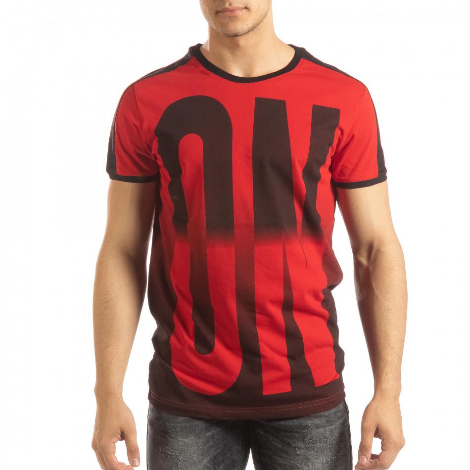 Ανδρική κόκκινη κοντομάνικη μπλούζα ON/OFF it150419-51