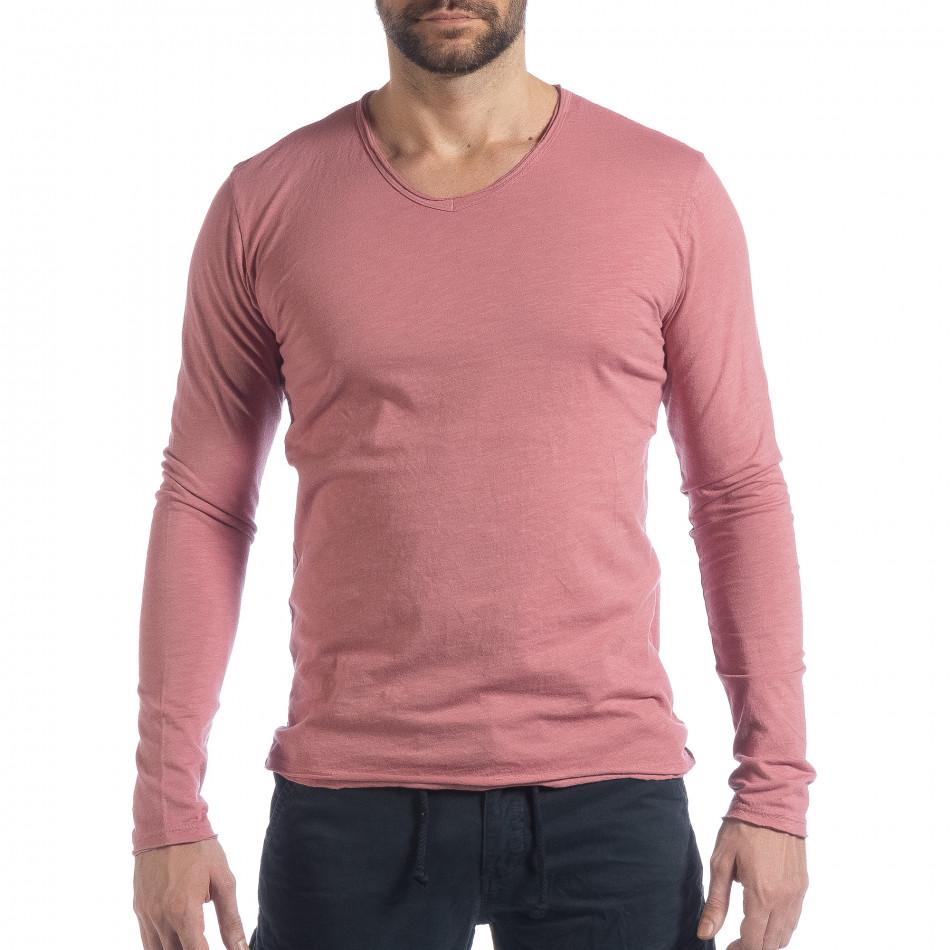 Ανδρική ροζ μπλούζα V-neck it040219-86