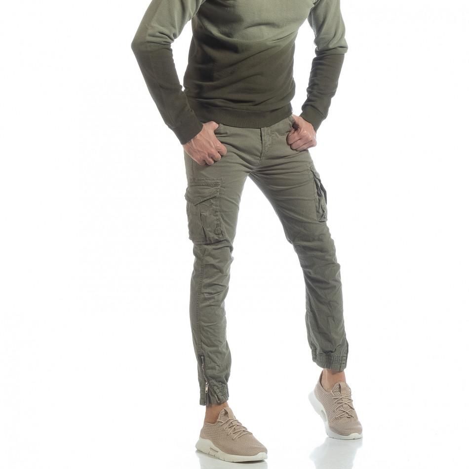 Ανδρικό πράσινο cargo Jogger παντελόνι  it040219-33