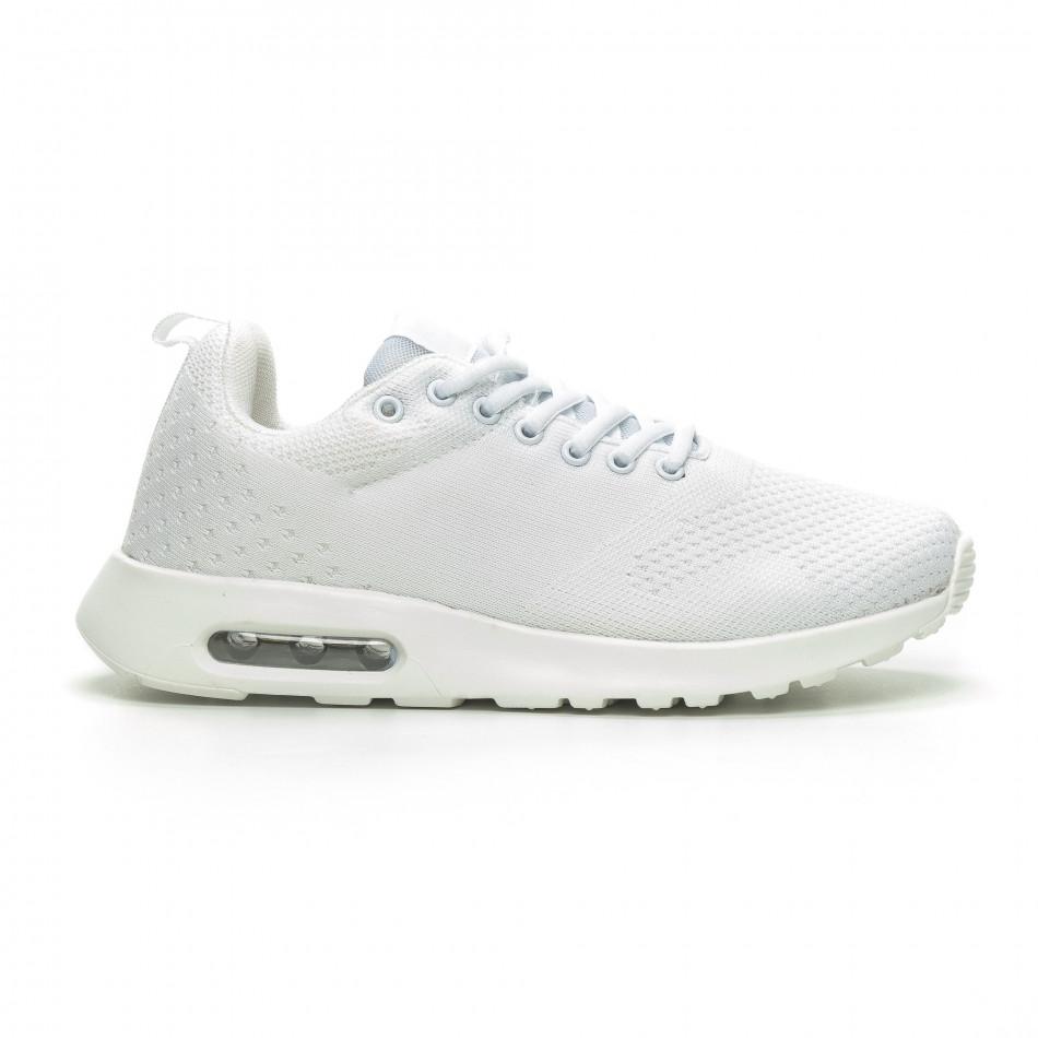 Ανδρικά λευκά πλεκτά αθλητικά παπούτσια με αερόσολα it100519-6