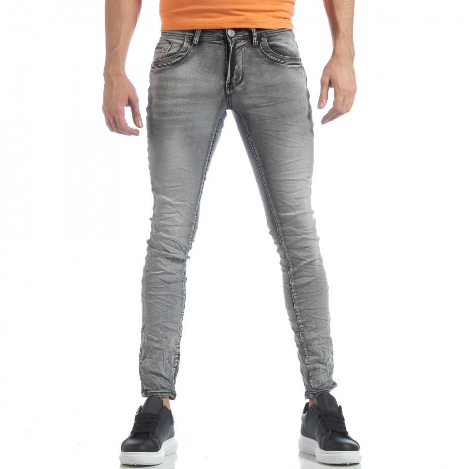 Ανδρικό γκρι Washed Slim Jeans τζιν it040219-14