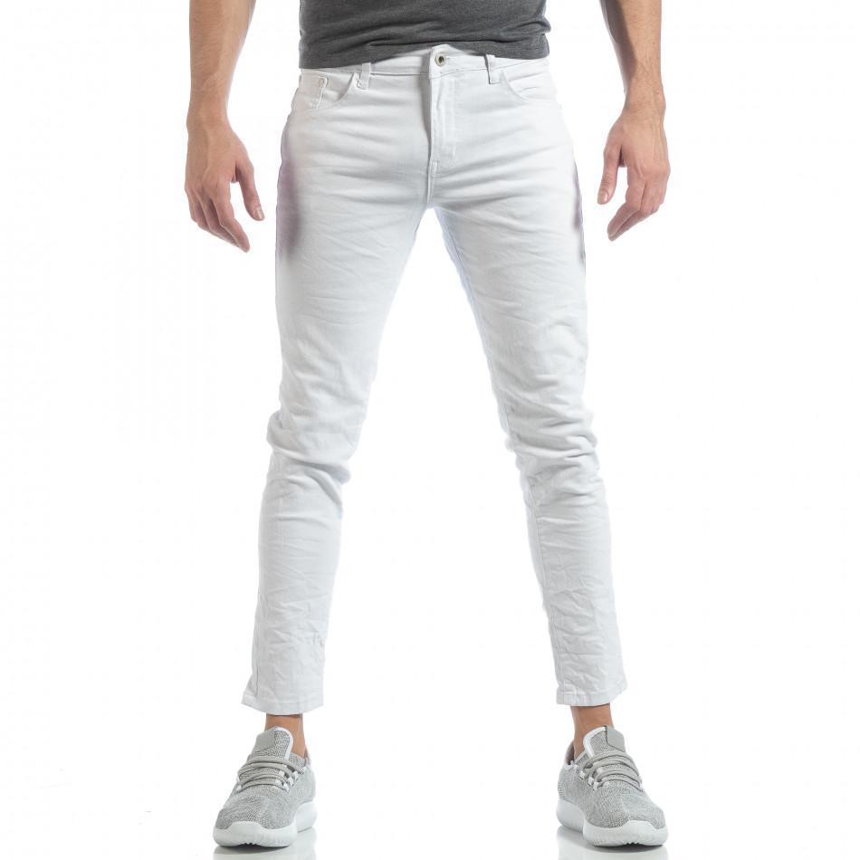 Ανδρικό λευκό Skinny τζιν με τσαλακωμένο εφέ it040219-1