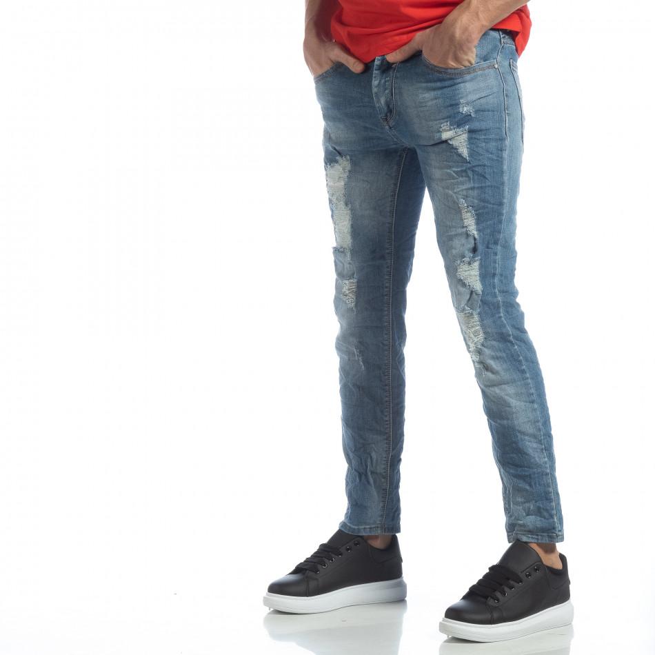 Ανδρικό γαλάζιο τζιν με σκισίματα it040219-22
