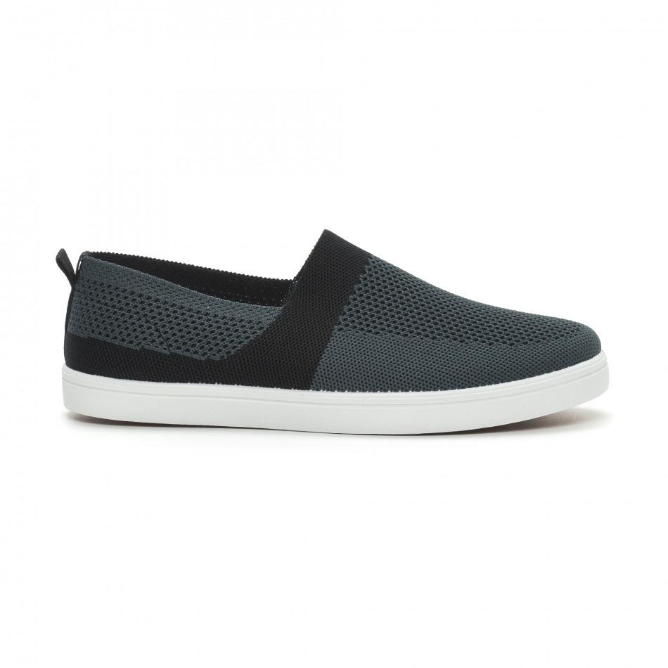 Ανδρικά γκρι πλεκτά sneakers με μαύρες λεπτομέρειες it150319-18