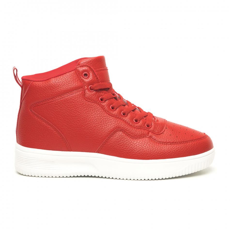 Ανδρικά ψηλά κόκκινα sneakers με Shagreen design it251019-15