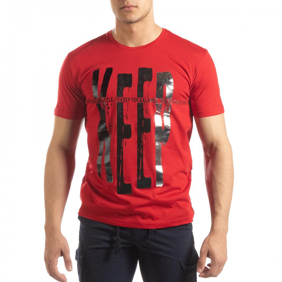 Ανδρική κόκκινη κοντομάνικη μπλούζα με πριντ it150419-91