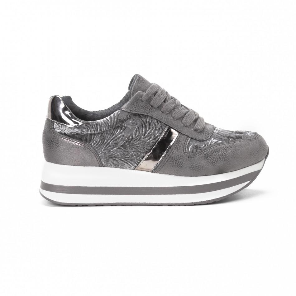 Γυναικεία γκρι sneakers με πλατφόρμα it150818-80