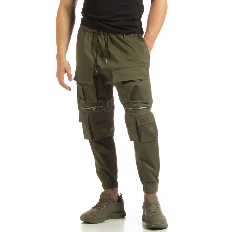 Cropped ανδρικό πράσινο παντελόνι με τσέπες it090519-19