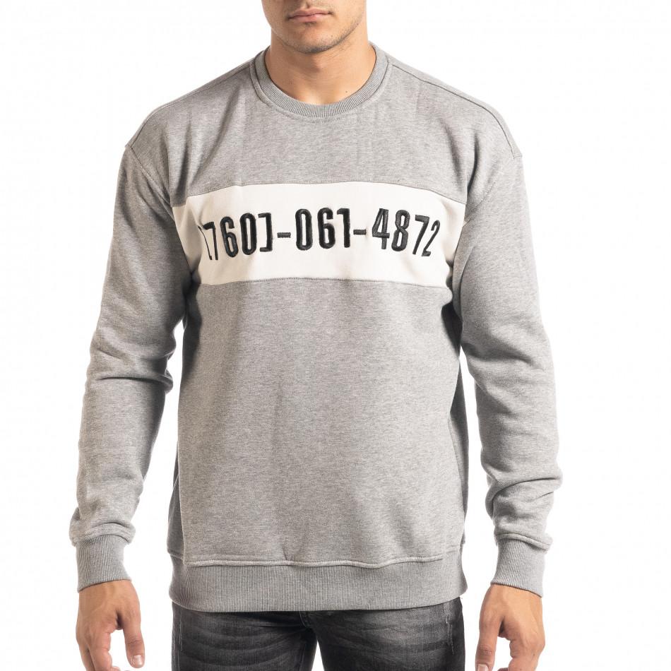 Ανδρική γκρι μπλούζα τύπου φούτερ it041019-55