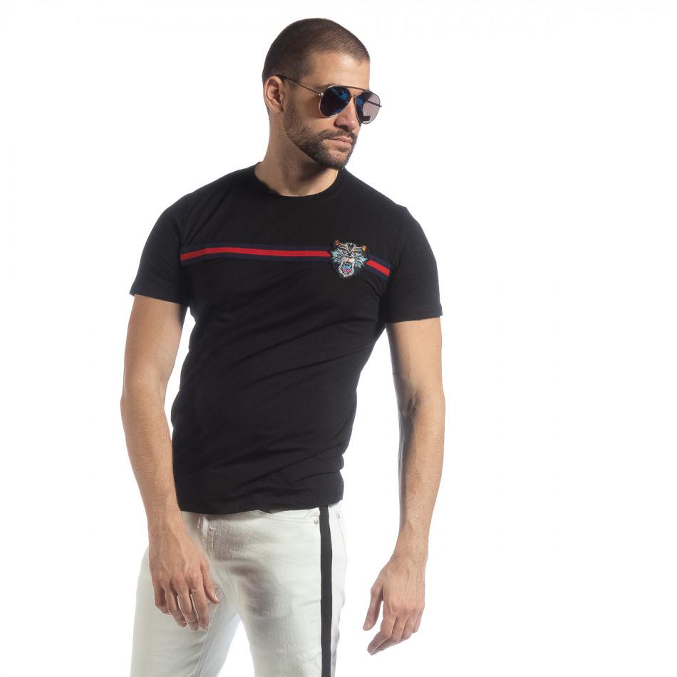 Ανδρική μαύρη κοντομάνικη μπλούζα με κέντημα it040219-116