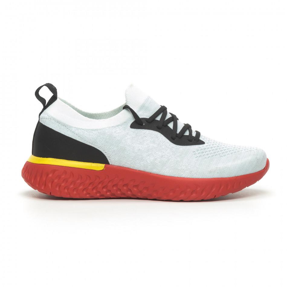 Ανδρικά γκρι μελάνζ αθλητικά παπούτσια με κόκκινη σόλα it100519-1