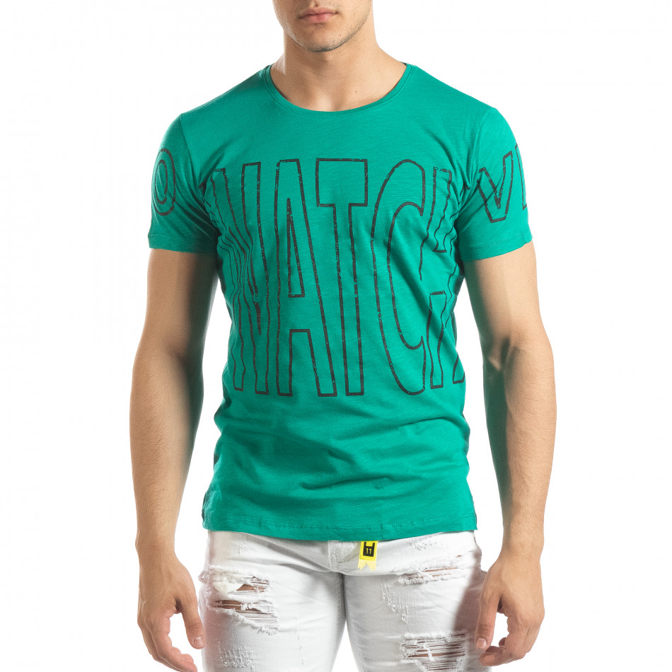 Ανδρική πράσινη κοντομάνικη μπλούζα με πριντ Watch it150419-100