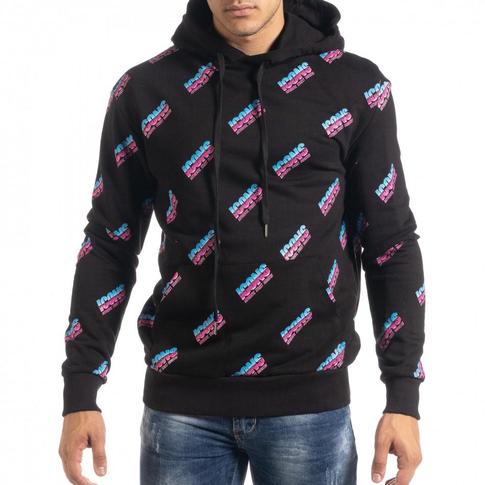 Ανδρικό μαύρο βαμβακερό φούτερ με μοτίβο it041019-46