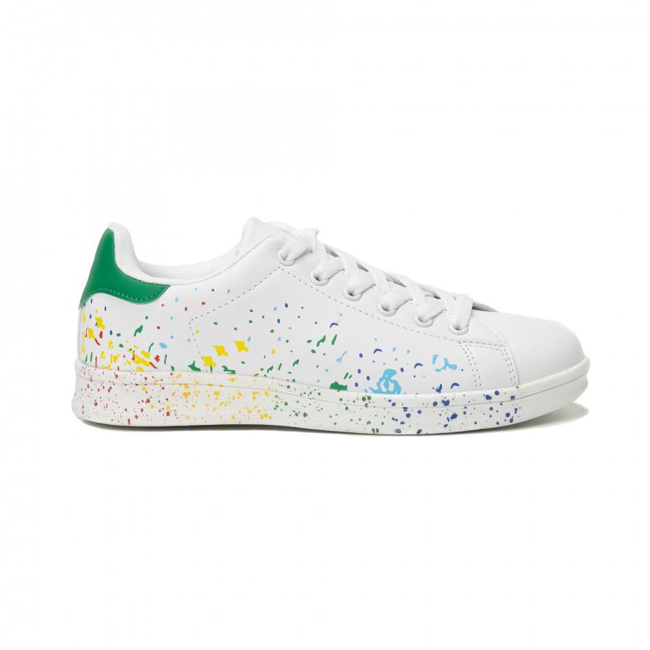 Γυναικεία λευκά sneakers με χρωματιστές πιτσιλιές it150818-38