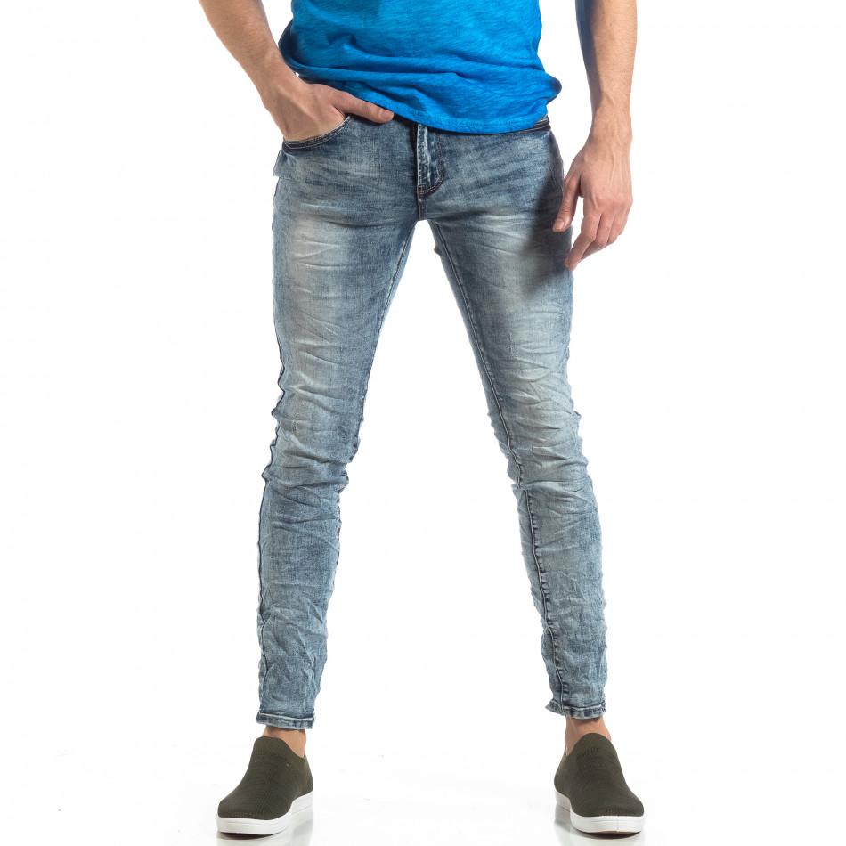 Ανδρικό γαλάζιο τζιν Washed Slim Jeans με τσαλακωμένο εφέ it210319-13