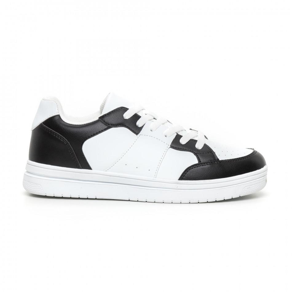 Ανδρικά skate sneakers σε λευκό και μαύρο it130819-7