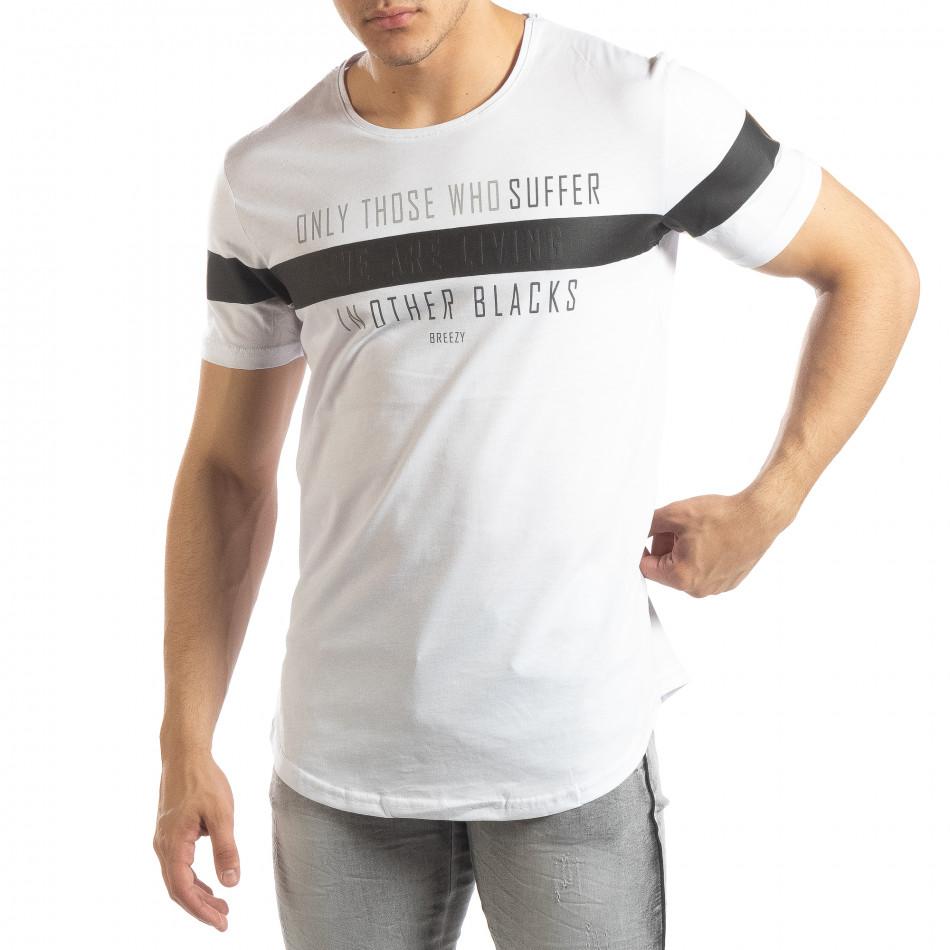 Ανδρική λευκή κοντομάνικη μπλούζα μακρύ μοντέλο it150419-93