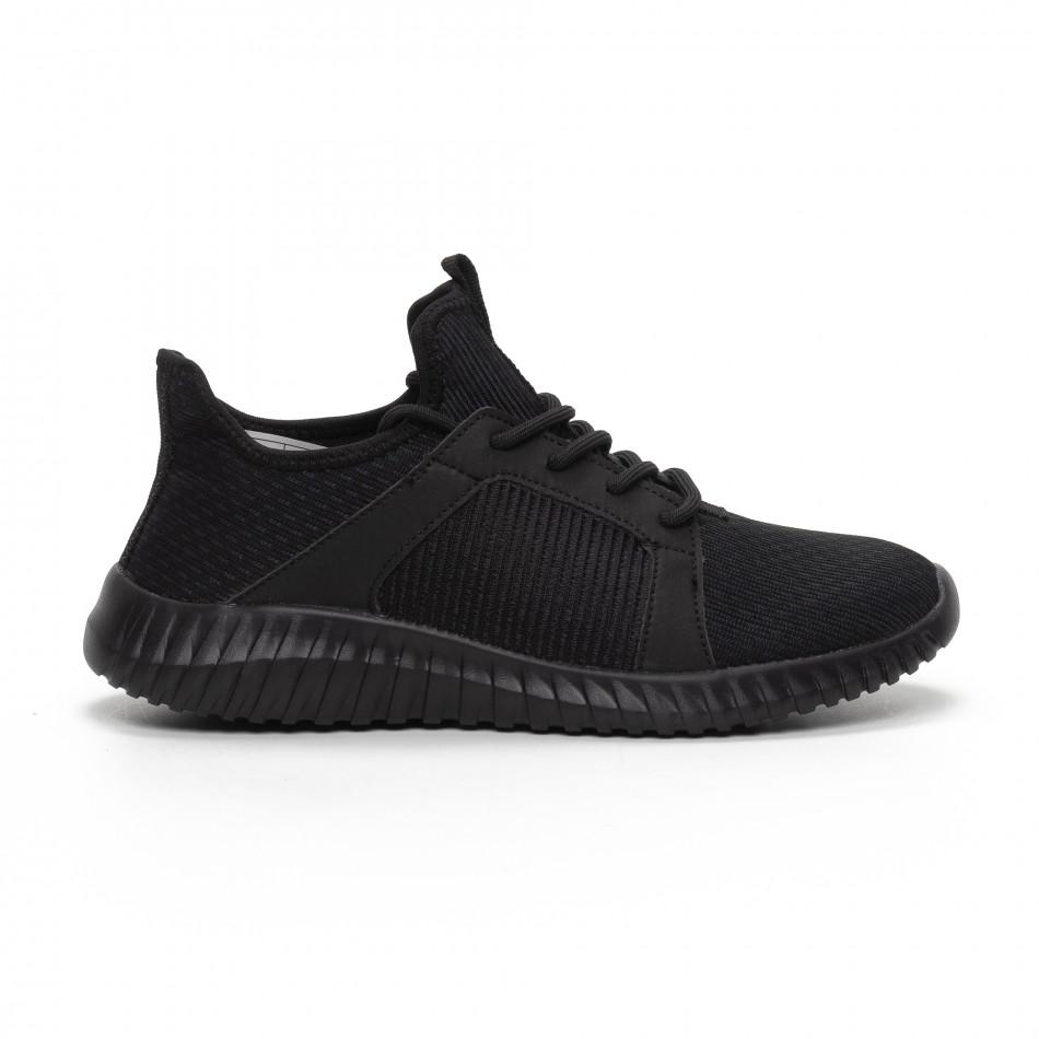 Ανδρικά μαύρα αθλητικά παπούτσια ελαφρύ μοντέλο it240419-16