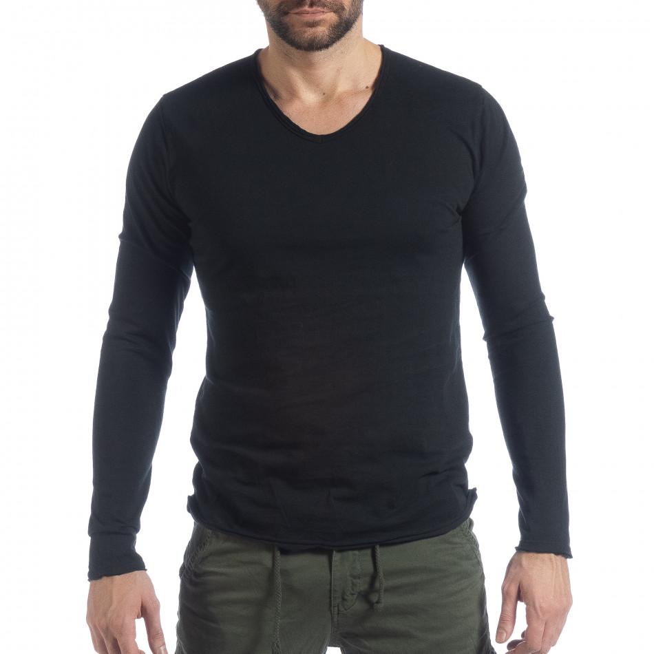 Ανδρική μαύρη μπλούζα V-neck it040219-88