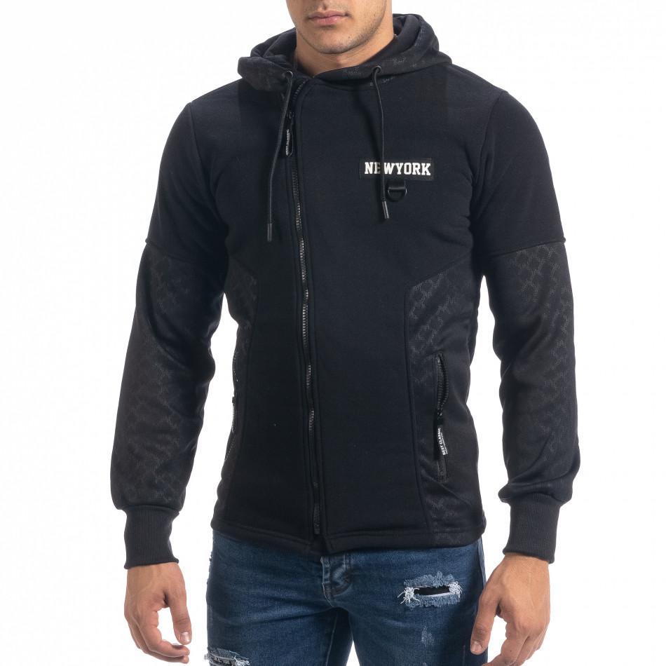 Ανδρικό μαύρο φούτερ Slim fit με κουκούλα it071119-67
